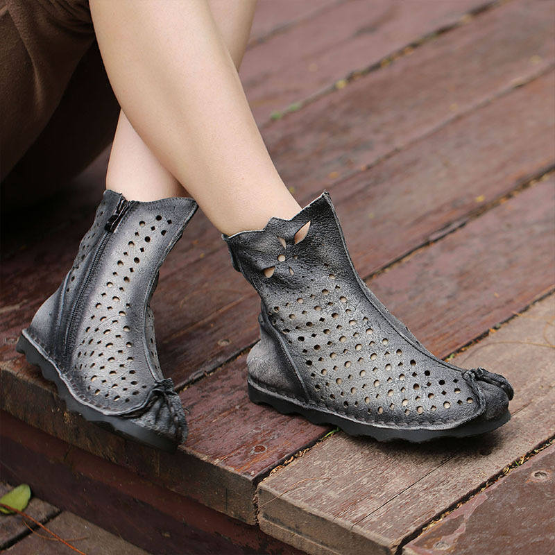 2018 spring summer ankle boots women round head hollow flat-bottomed leather women's boots leisure soft outsole round flat bottomed sweet bowknot short boots