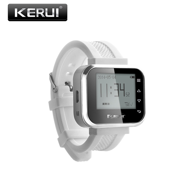 Kerui Wireless Waiter calling Waiter Service Calling System For Bank Restaurant Hotel, White Restaurant Wrist Pagers wireless sound system waiter pager to the hospital restaurant wireless watch calling service call 433mhz