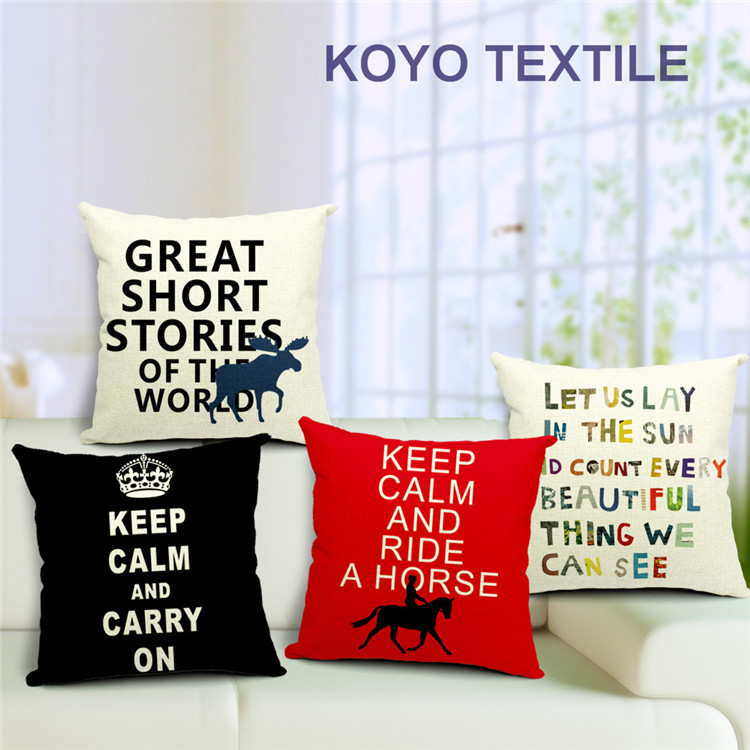 Decorative Printed Slub Linen Keep Calm Let Us Letter Talk Sweet Gift Sofa Car Cushion Cover Throw Pillow Cover Case
