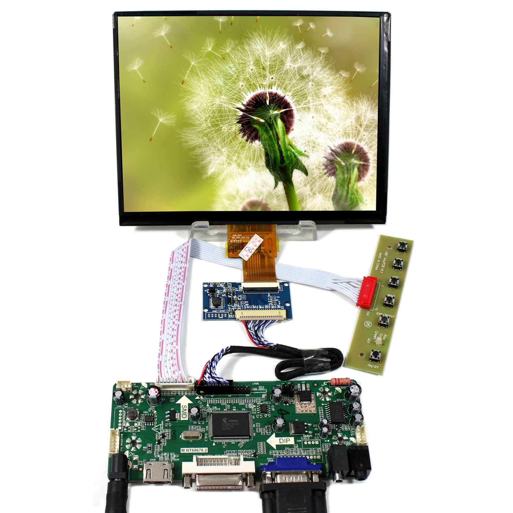 HDMI+DVI+VGA+Audio LCD Control Board+8inch 1024x768 HJ080IA-01E IPS LCD Panel hdmi vga av audio usb control board 8inch hj080ia 01e 1024 768 ips lcd panel screen model lcd for raspberry pi