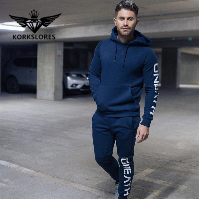 Collection Here 2018 Men Set Quality Fleece Sweatshirt + Pants Male Tracksuit Sporting Sweat Suits Mens Gyms Survetement Sportswear High Quality And Low Overhead