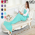 Women Female Fashion Special Design Handmade Sleeping Bag Crochet Mermaid Tail Sofa Blanket Cocoon Knitted Quilt Rug 140CM*70CM