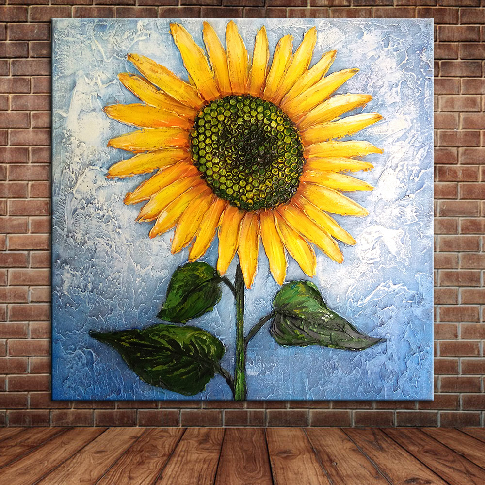 Large Modern Sunflower Hand Painted Oil Pianting On Canvas ...