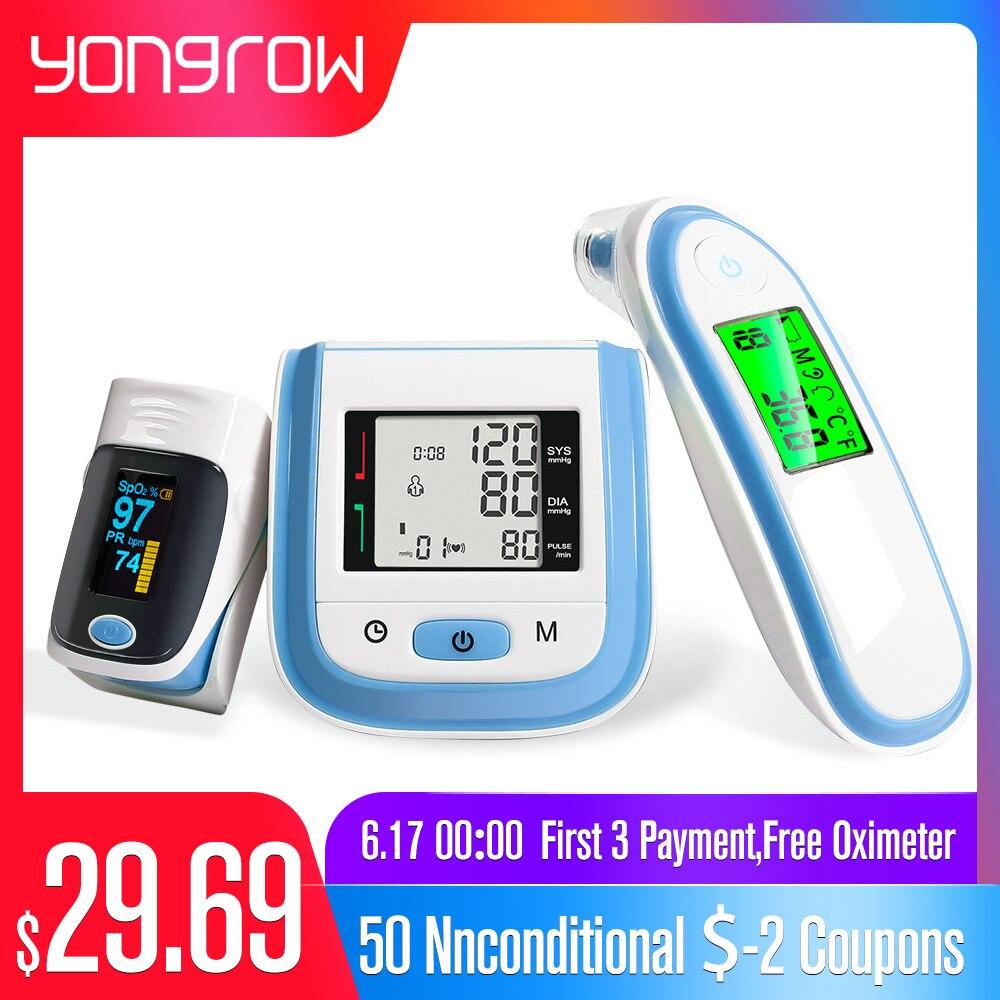 Yongrow SpO2 Oxímetro de Pulso Da Ponta Do Dedo de Pulso Monitor de Pressão Arterial Digital Ear Termômetro Infravermelho Cuidados de Saúde Da Família de Oxigênio PR