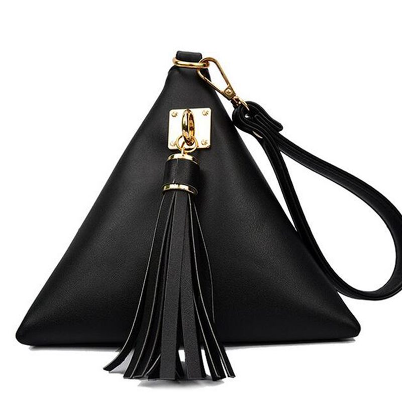 Fashion Mini Tassel Clutch Black Leather Bag Designer Purse Famous Brand Women Fringe Handbag Evening Bags Bolsa S-251 2016 fashion famous brand handbag folding clutch purse evening party leather women shoulder messenger bag bb0808