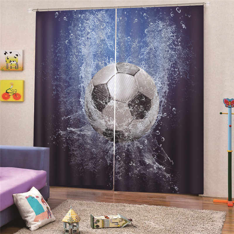 3D Digital Print Football Blackout Curtain For Living Room Children Bedroom Cartoon Printed kids Cortinas Draps Home Decor AP16