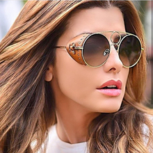 PAWXFB Steampunk Sunglasses Women Men Retro Goggles Round Glasses steam punk Vintage Fashion Eyewear