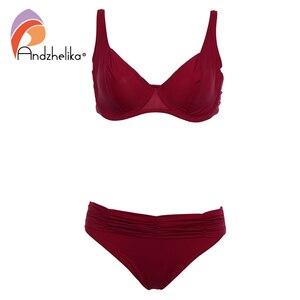 Image 2 - Andzhelika 2020 Summer Solid Bikinis Women Swimsuit Soft Cups Steel prop Bikini Set Beach Swim Suits Maillot de bain