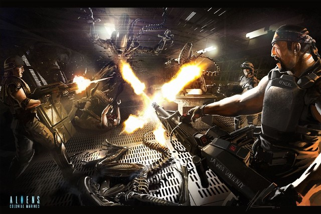 DIY frame Aliens Colonial Marines guns Warrior Men Battle Firing Games alien  sci fi cloth silk