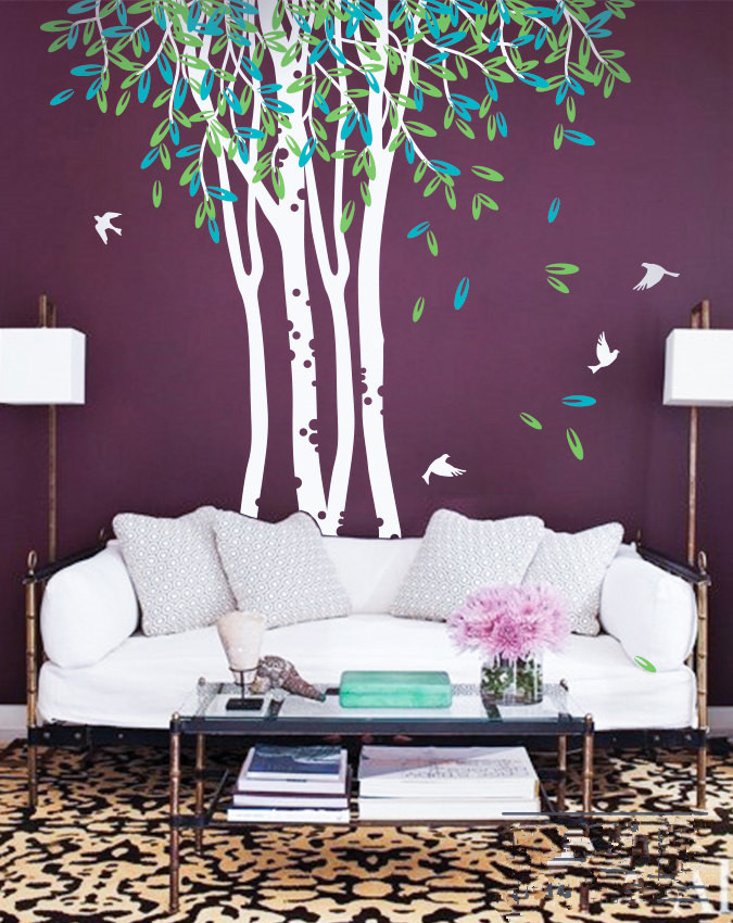 Large Birch Trees Ceiling High Wall Mural Forest Scene Sofa Art Piece Wall  Stickers For Kids Part 60