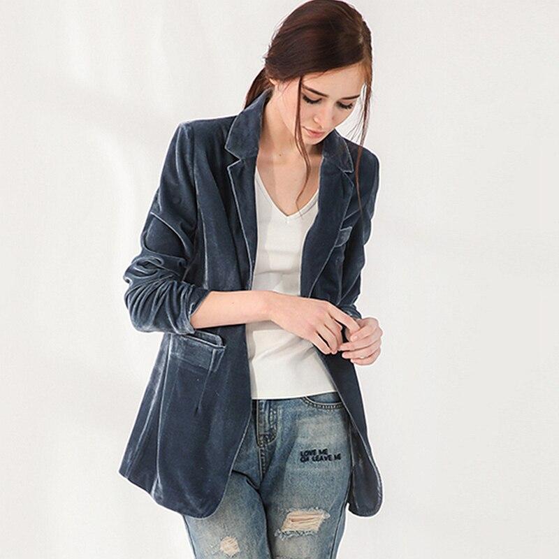 Velvet Blazers Women Simple Design Suit Long Sleeves Single Button Ladies Office Work Clothing Spring Autumn 2018 New Fashion