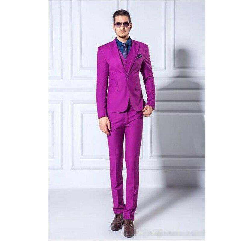 Fashion classic men's suit purple lapel single breasted men's prom dress and groomsmen dress (jacket + pants + vest) custom made