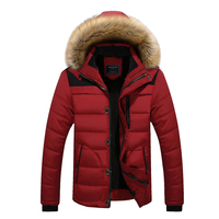 Winter Mens Down Jacket Boys Warm Down Cotton Coat Thick Jacket Trench Padded Outerwear With Fur Trim Hood Zipper Warm/Windproof