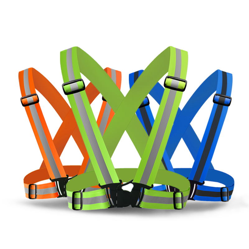 Reflective Safety Vest Belt High visibility Security Reflective Elasticated Strips Waistcoat Belt for Bicycle Running Working
