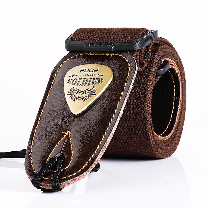 Soldier Acoustic Electric Bass Guitar Strap Black Leather Ends Belt Shoulder Personalized Metal LOGO Straps Guitar Accessories