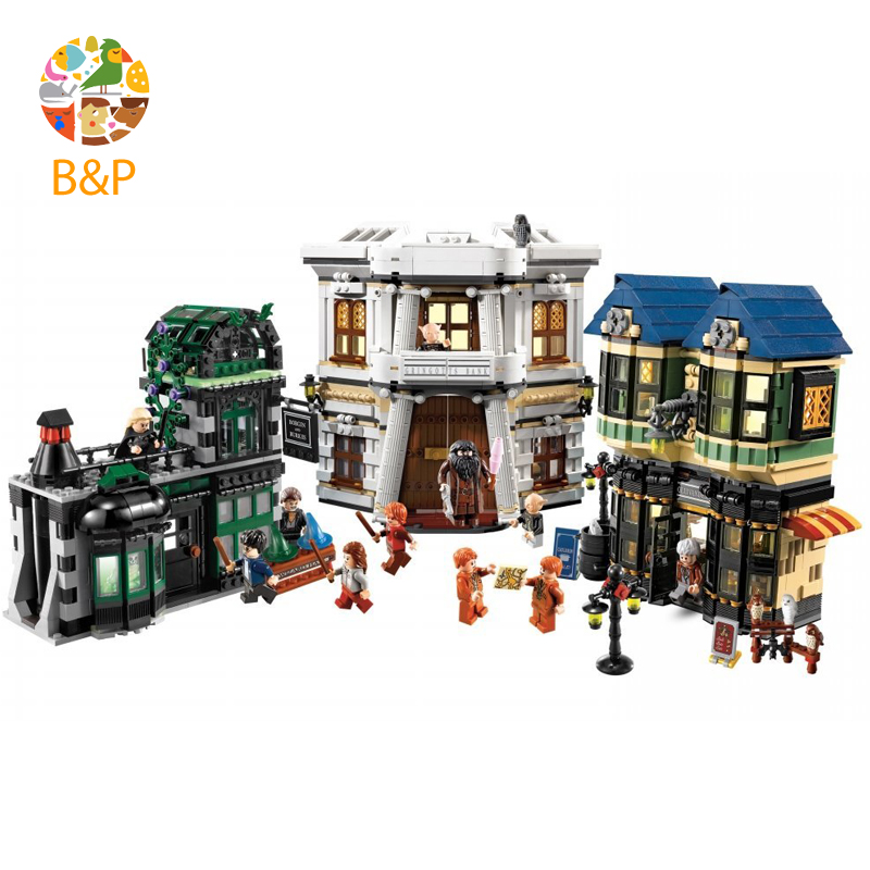 lepin Legoing 10217 2075Pcs Movie Series The Diagon Alley Model Building Blocks Brick Educational kit Toys For Children 16012 lepin legoing 70612 592pcs ninjago series the green ninja mech dragon building blocks brick educational toys for children 06051