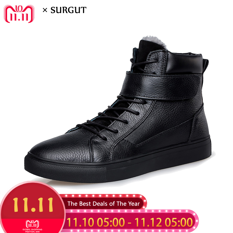 SURGUT Brand Hot Sale Winter Working Shoes Comfortable Genuine Leather Men Plush Warm Boots High Top Sneakers Big Size 36~48 цены