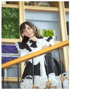 Image 3 - Женское платье с фартуком, черно белое длинное платье в стиле аниме, платья маскарадный костюм Лолиты