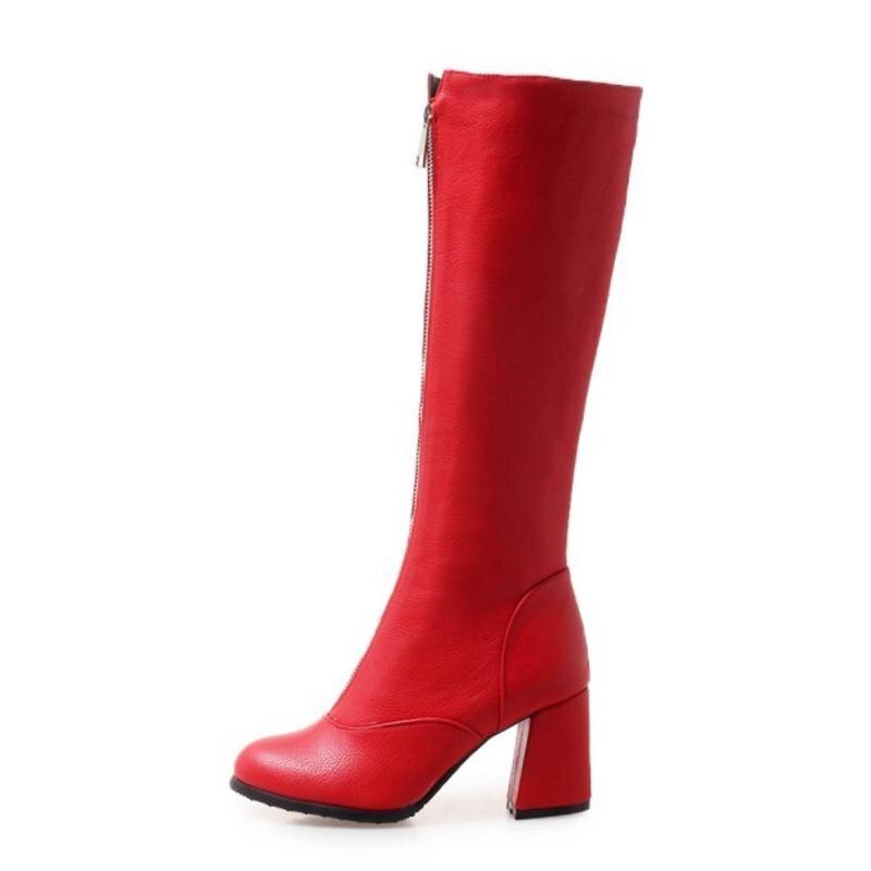 Negro Botas Calzado Hasta Rodilla Mujer La De Alto rojo Moda Talla Tacón blanco Redonda 43 34 Punta Invierno Con 1209 Cremallera Cuculus Zapatos qtgRwSx
