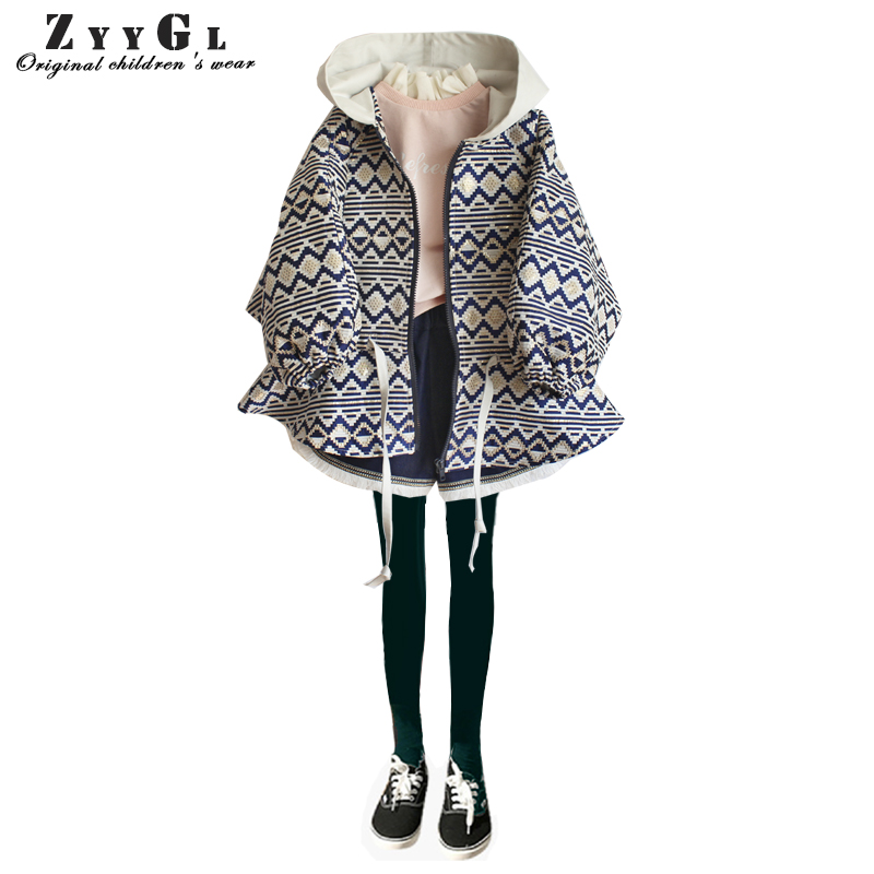 ZYYGL spring new coat children clothing loose bat sleeve cap geometric pattern short style windbreaker girl clothes hot style three points children quilted loose coat