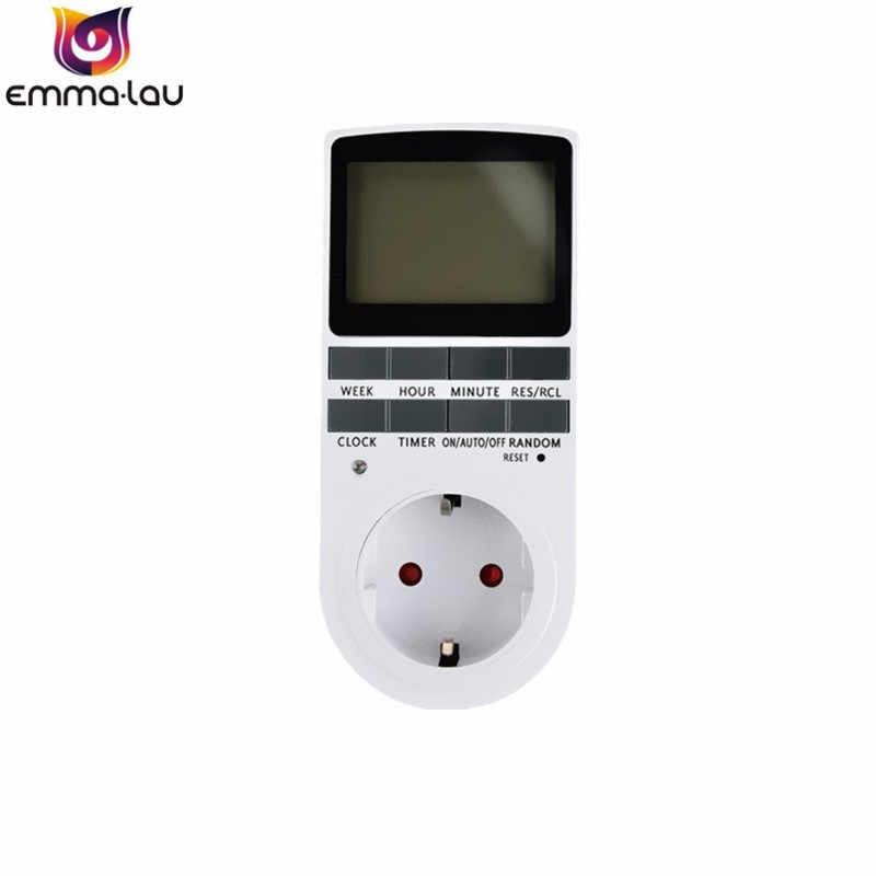 Портативный разъем Plug-in цифровой таймер 16A 230 V большой ЖК-дисплей 24 h 7day неделя ЕС вилка таймер переключатель для приборы для умного дома