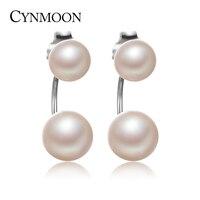 2016 Fashionable Double Pearl Earrings 100 Genuine Natural Freshwater Pearl Earring Natural White Pearl Sterling