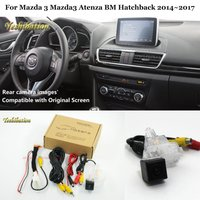 Yeshibation Car Rear View Reverse Camera Sets For Mazda 3 Mazda3 Atenza BM Hatchback 2014~2017 Compatible RCA & Original Screen