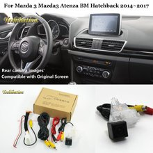 Yeshibation Car Rear View Reverse Camera Set Per Mazda 3 Mazda3 Atenza BM Hatchback 2014 ~ 2017 Compatibile RCA & Schermo originale