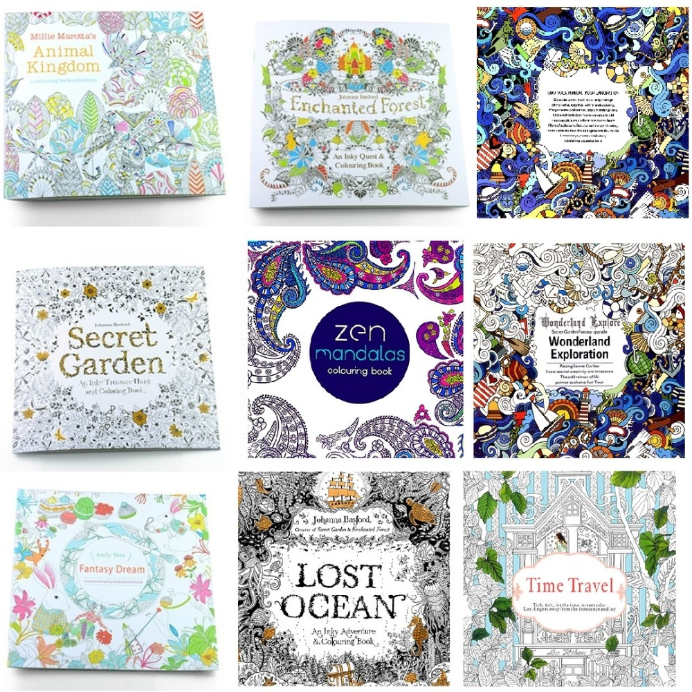 1Pcs 24 Pages New English Version 8 Design Secret Garden Lost Ocean Coloring Book Adult Relieve Stress Drawing Art M0129 In Notebooks From Office