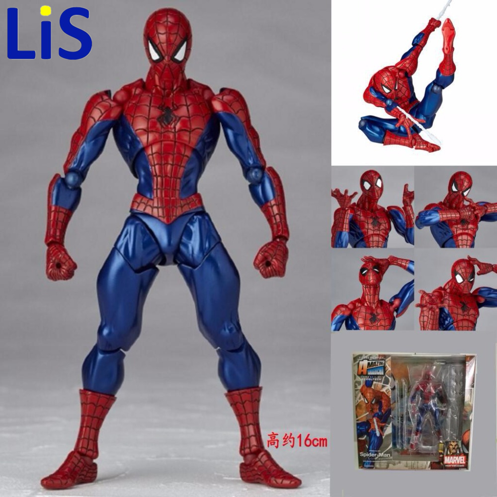 Lis Free Shipping 6 Tokusatsu Revoltech No.002 Hero Spiderman Spider Man Boxed 16cm PVC Action Figure Collection Model Doll Toy free shipping 10 pa kai super hero spider man spider man blue ver boxed 26cm pvc action figure collection model doll toy gift