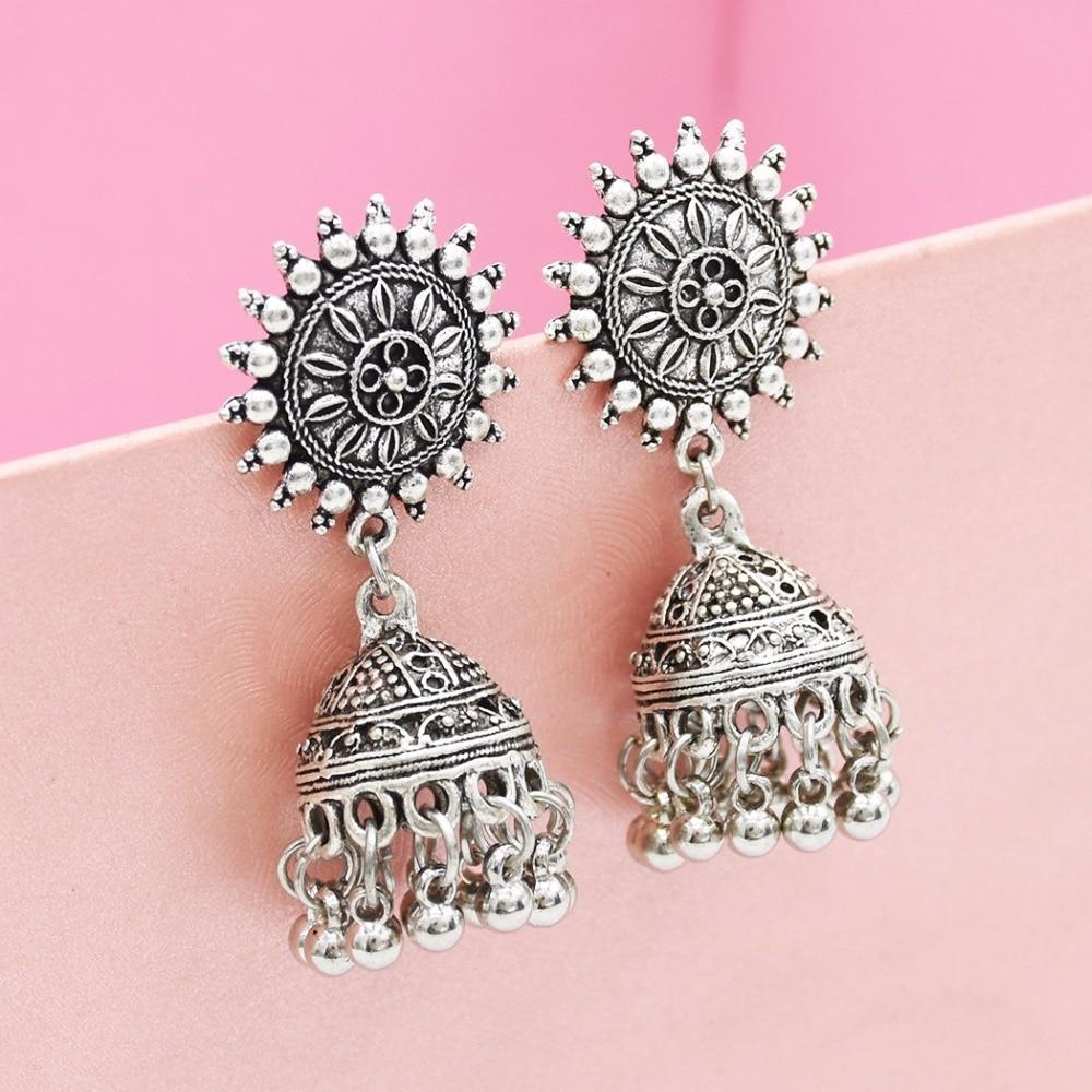 Gypsy Afghan Jewelry Retro Ethnic Silver Indian Jhumka Small Bells Beads Drop Tassel Earrings for Women Bohemian Pendiente Gift 6