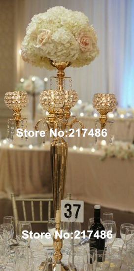 Nickel Plated Wedding Candelabra With Flower Bowl 5 Arm Gold Metal For Table Centerpiece