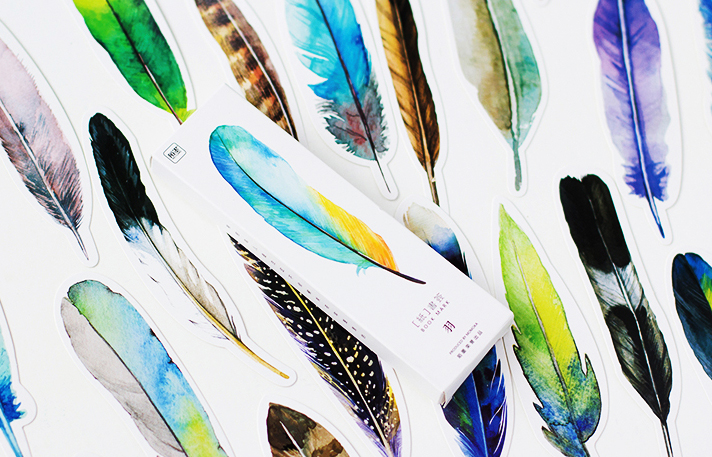 30Pcs/set Cute Creative Colorful Feather Paper Bookmark Stationery Bookmarks Book Clip Office Accessories School Bookends