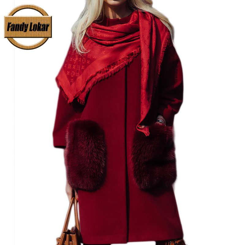 Fandy Lokar Spring/Autumn Jackets Women's Cashmere Coats Naural Fox fur Real Wool fur Gray Wool Coat Manteau Femme Hiver Laine