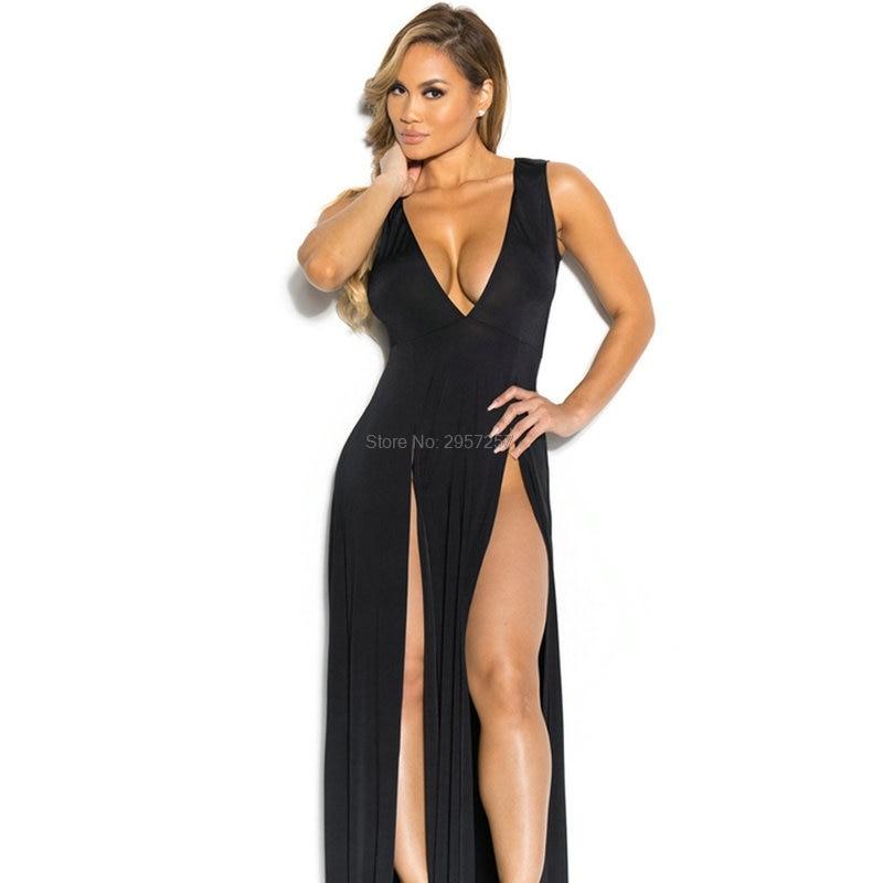 Summer 2017 Sexy deep V-neck Women Dress plunging neckline Big Girl female bodycon front Slit Split maxi Charming Dresses