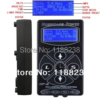 Hot Sale Hurricane HP 2 Black LCD Digital Tattoo Power Supply Dual Professional Permanent Makeup tattoo