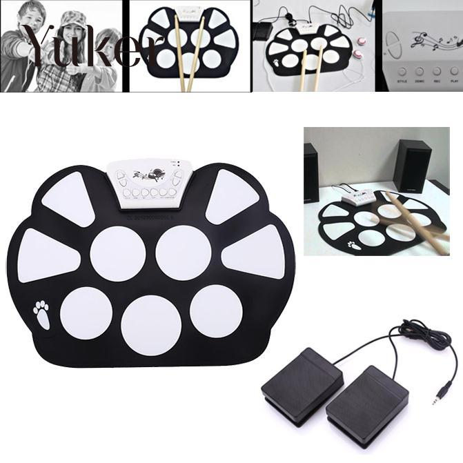 Yuker Foldable Portable Roller Up USB Electronic Drum Kit Electric Musical Practice Instrument 6pcs set 39x 27 5x2 5cm silica gel foldable portable roller up usb electronic drum kit 2 drum sticks 2 foot pedals