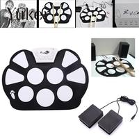 Foldable Portable Roller Up USB Electronic Drum Kit Electric Musical Practice Instrument