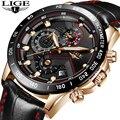 Neue Männer Uhren LIGE Top Marke Luxus Chronograph Männlichen Quarzuhr Männer Casual Leder Wasserdichte Sport Uhr Relogio Masculino-in Quarz-Uhren aus Uhren bei