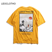 LEOCLOTHO Japanese Embroidery Funny Cat Wave Printed T Shirt Men Japan Style Hip Hop Casual Streetwear Fashion Tee Tops
