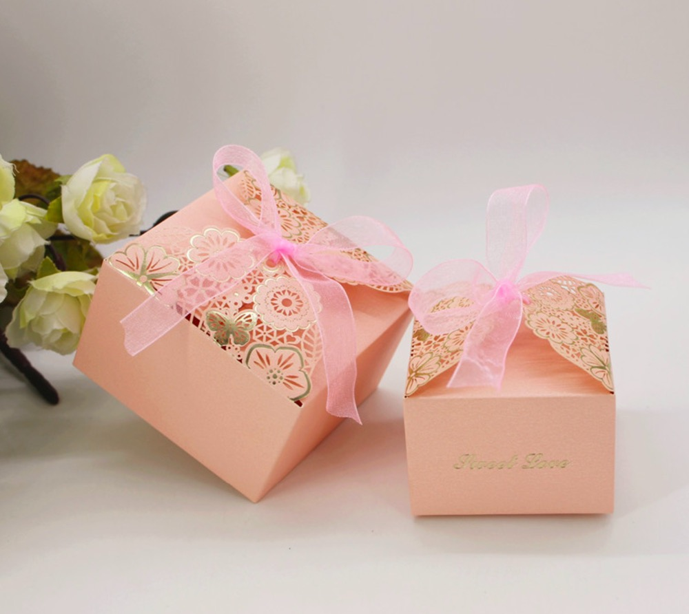 100pcs New European Wedding Favors pink hollow out flowers Candy ...