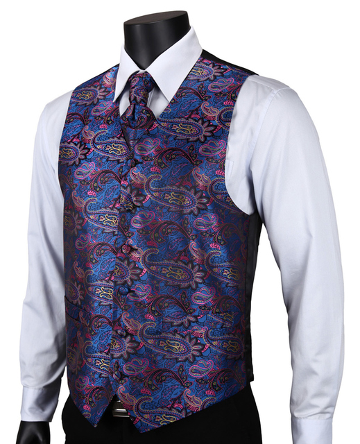 VE15 Purple Blue Paisley Top Design Wedding Men 100% Silk Waistcoat Vest Pocket Square Cufflinks Cravat Set for Suit Tuxedo