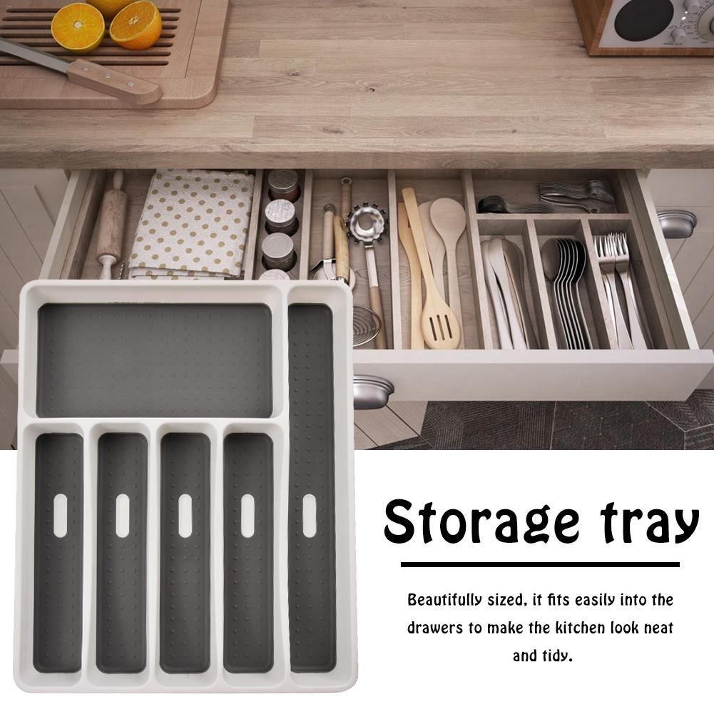 Fork Tableware-Tray Storage-Box Drawer-Organizer Spoon Separation Plastic Kitchen 6-Compartments
