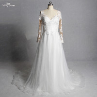 LZ247 Charming Ivory Applique Bridal Gown Lace Bridal Dress Beach Wedding Dress Long Sleeve