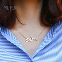 METOO Personalized Gold Name Necklaces Pendant Necklace Numbers Customized Capital Letter Choker Couple Jewelry
