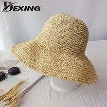 Stylish Version Sun Hat for Women Holiday Beach Straw Hat Female Hollow Summer Big Brim Hat Fold Sun Uv Protection Floppy Hat