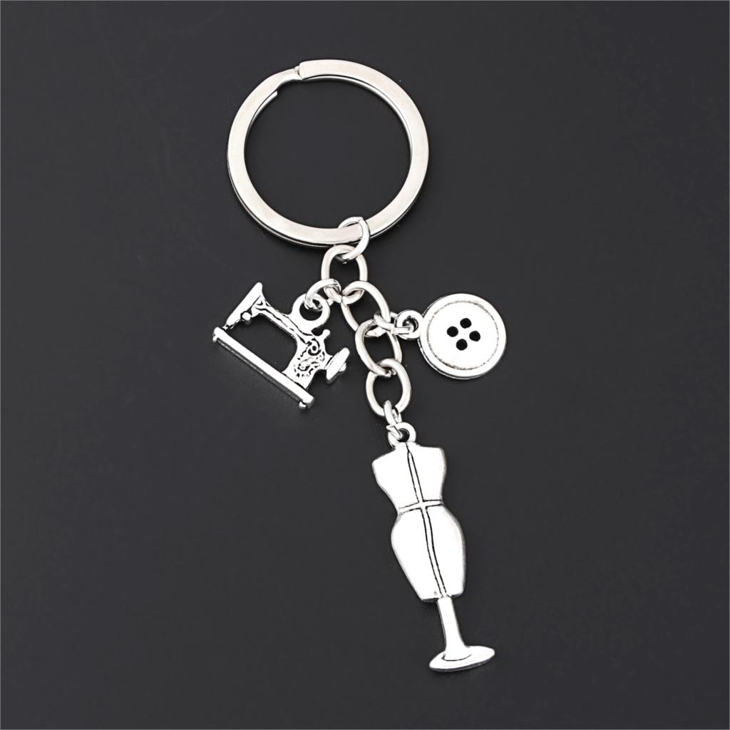 1Pc Sewing Machine Clothes Button Charms Keychain Coat Rack Keyholder For Seamstess Handmade Gift Jewelry Crafts E2692