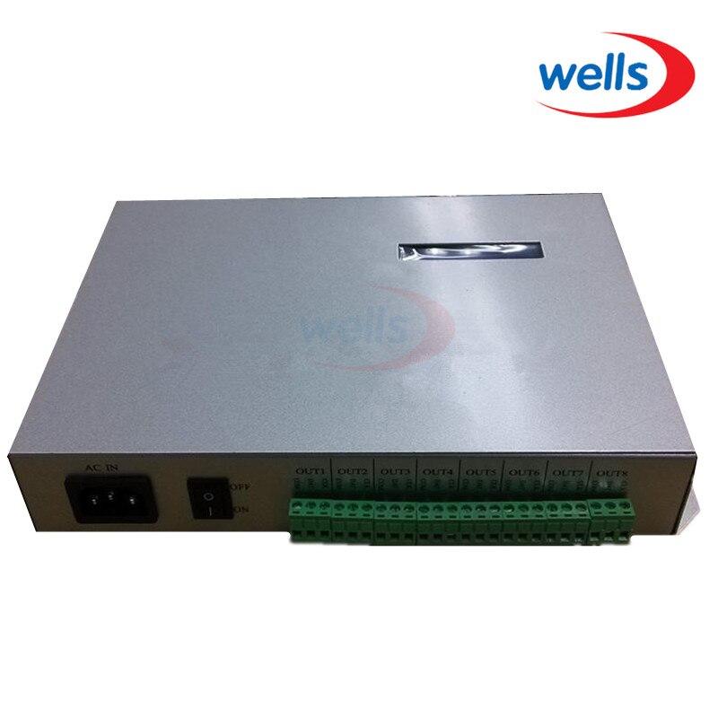 T-300K T300K SD Carte en ligne VIA PC RVB Pleine couleur led pixel module contrôleur 8 ports 8192 pixels ws2811 ws2801