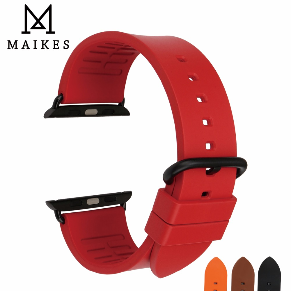 все цены на MAIKES Fashion Red Rubber Watch Strap For Apple Watch Band 44mm 40mm iWatch All Models For Apple Watch 42mm 38mm Series 4 3 2 1 онлайн