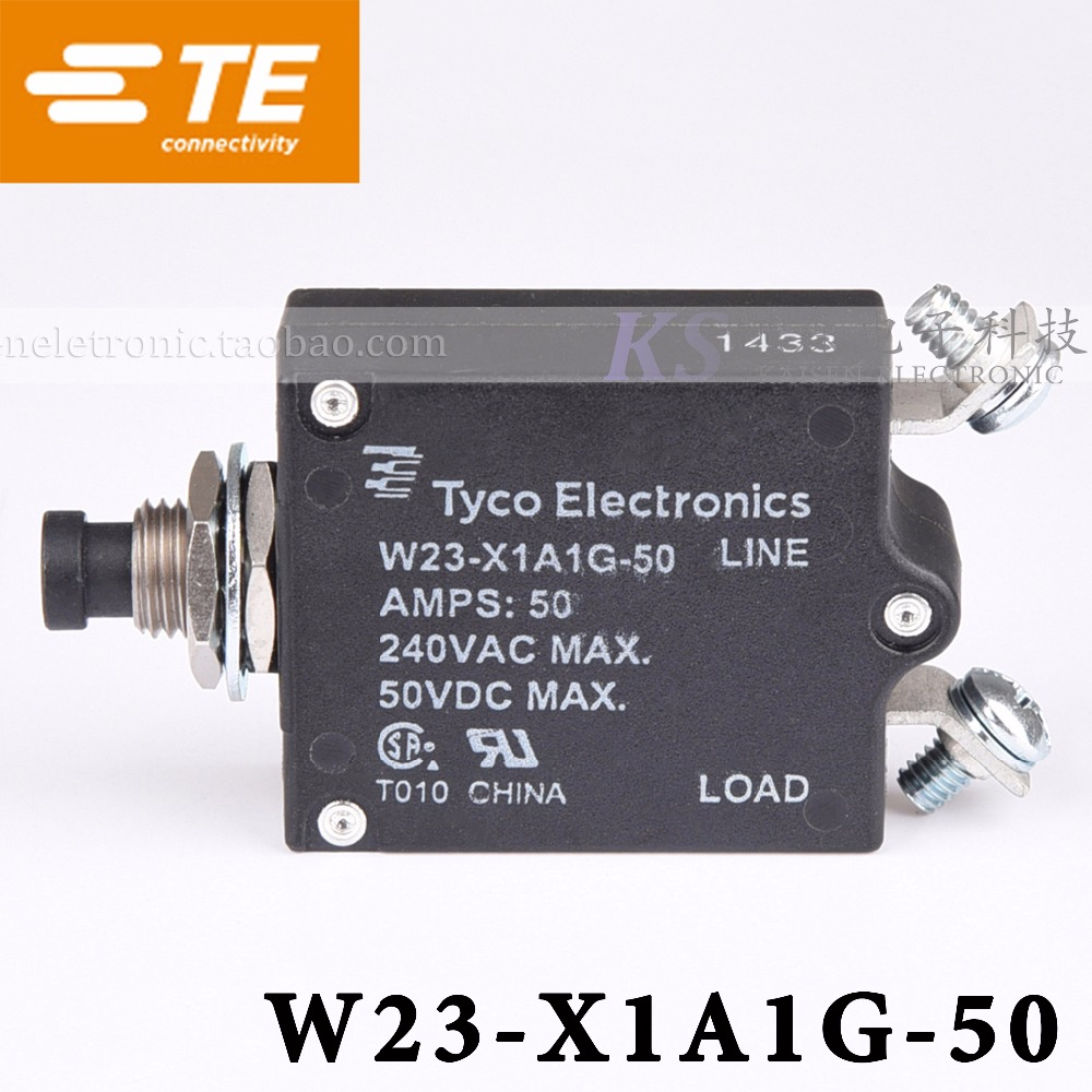 [SA]Tyco W23-X1A1G-50 50A 7-1393246-6 ULCSA 1-50Amps, thermal magnetic overload circuit breaker--5PCS/LOT 2 pin thermal overload protection circuit breaker 10 piece pack